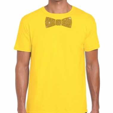 Vlinderdas t-shirt geel met glitter das heren