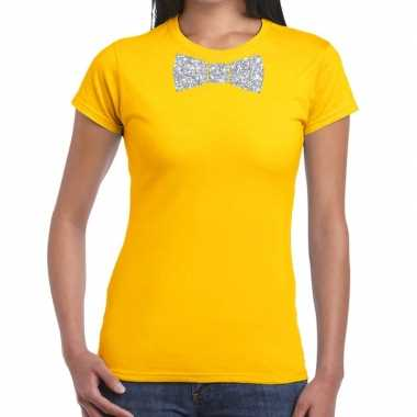 Vlinderdas t-shirt geel met zilveren glitter strikje dames