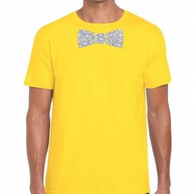 Vlinderdas t-shirt geel met zilveren glitter strikje heren