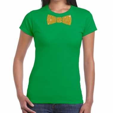 Vlinderdas t-shirt groen met glitter das dames