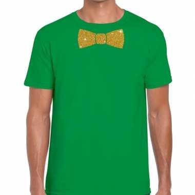 Vlinderdas t-shirt groen met glitter das heren