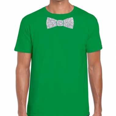 Vlinderdas t-shirt groen met zilveren glitter strik heren