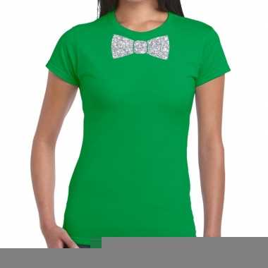 Vlinderdas t-shirt groen met zilveren glitter strikje dames
