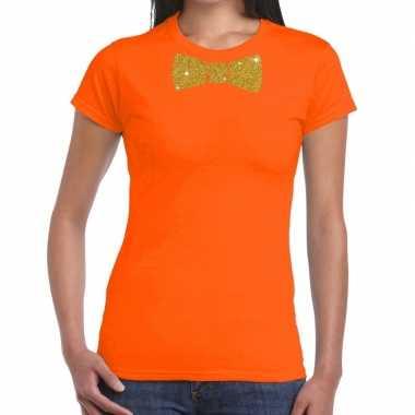 Vlinderdas t-shirt oranje met glitter das dames
