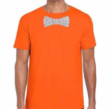 Vlinderdas t-shirt oranje met zilveren glitter strikje heren