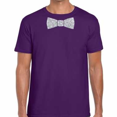 Vlinderdas t-shirt paars met zilveren glitter strikje heren