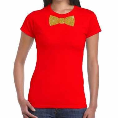 Vlinderdas t-shirt rood met glitter das dames