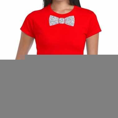Vlinderdas t-shirt rood met zilveren glitter strikje dames