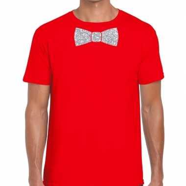 Vlinderdas t-shirt rood met zilveren glitter strikje heren