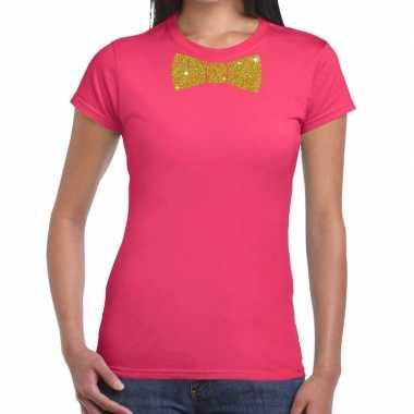 Vlinderdas t-shirt roze met glitter das dames