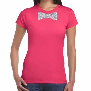 Vlinderdas t-shirt roze met zilveren glitter strikje dames