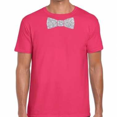 Vlinderdas t-shirt roze met zilveren glitter strikje heren
