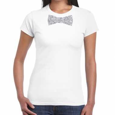 Vlinderdas t-shirt wit met zilveren glitter strikje dames