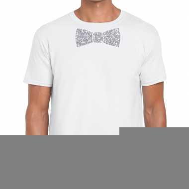 Vlinderdas t-shirt wit met zilveren glitter strikje heren