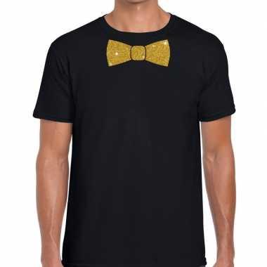 Vlinderdas t-shirt zwart met glitter das heren