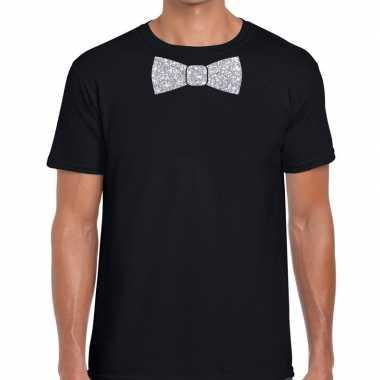 Vlinderdas t-shirt zwart met zilveren glitter strikje heren