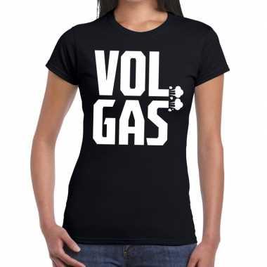 Vol gas zwarte cross t-shirt zwart voor dames
