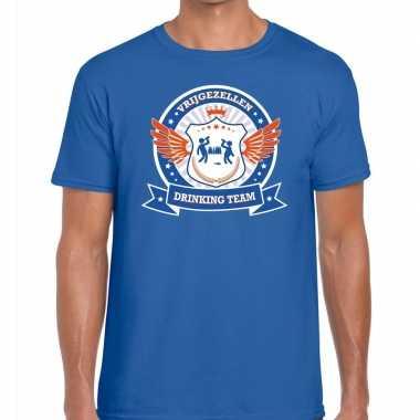 Vrijgezellenfeest blauw oranje drinking team t-shirt blauw heren