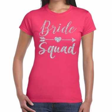 Vrijgezellenfeest bride squad zilveren letters t-shirt roze voor dame