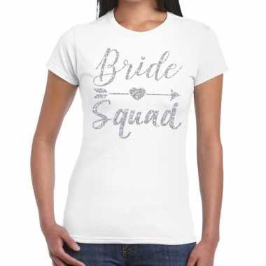 Vrijgezellenfeest bride squad zilveren letters t-shirt wit voor dames
