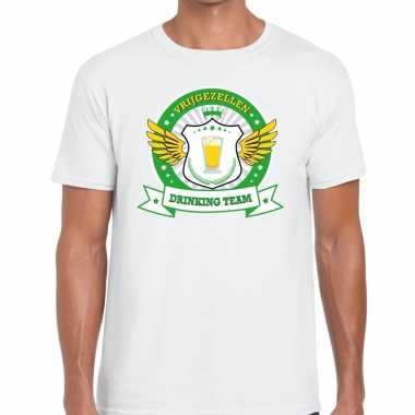 Vrijgezellenfeest groen geel drinking team t-shirt wit heren