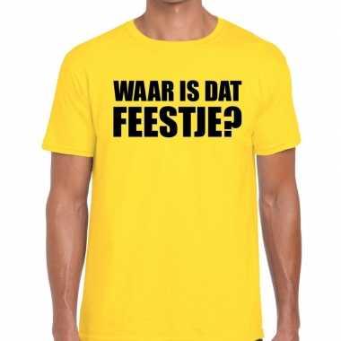 Waar is dat feestje? fun t-shirt geel voor heren