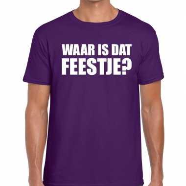Waar is dat feestje? fun t-shirt paars voor heren