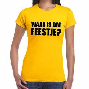 Waar is dat feestje? geel shirt voor dames
