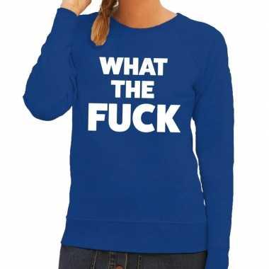 What the fuck fun sweater blauw voor dames