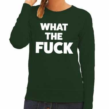 What the fuck fun sweater groen voor dames