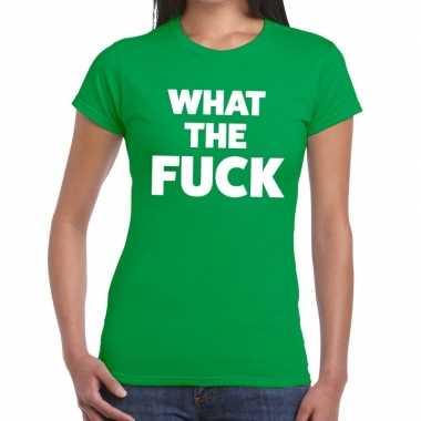 What the fuck fun t-shirt groen voor dames