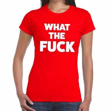 What the fuck fun t-shirt rood voor dames