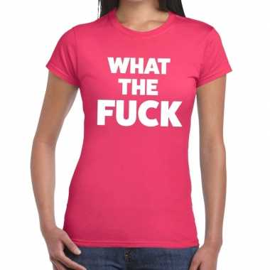 What the fuck fun t-shirt roze voor dames