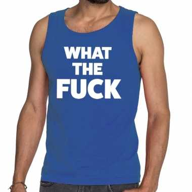 What the fuck fun tanktop / mouwloos shirt blauw voor heren