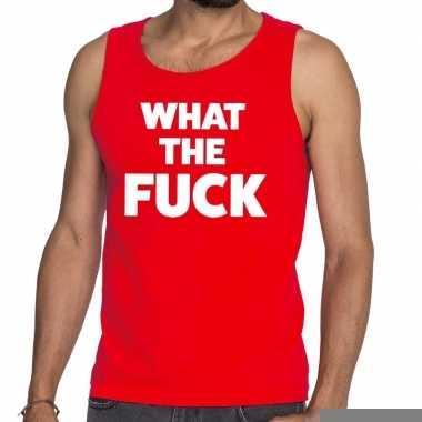 What the fuck fun tanktop / mouwloos shirt rood voor heren