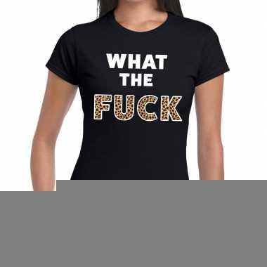 What the fuck tijger print fun t-shirt zwart voor dames