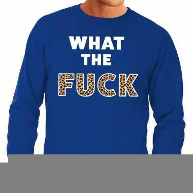 What the fuck tijgerprint fun sweater blauw voor heren