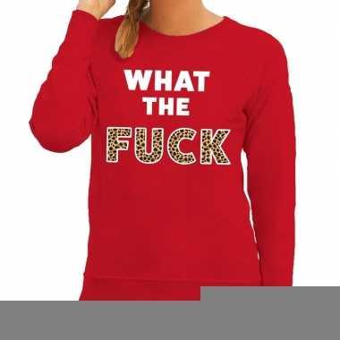 What the fuck tijgerprint fun sweater rood voor dames
