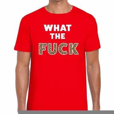What the fuck tijgerprint fun t-shirt voor heren rood