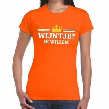 Wijntje ik willem shirt oranje dames