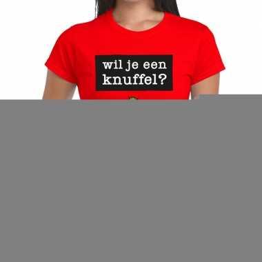 Wil je een knuffel fun t-shirt rood voor dames