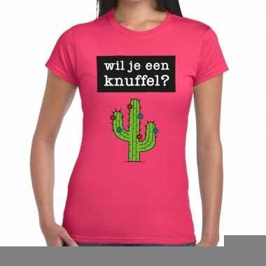 Wil je een knuffel fun t-shirt roze voor dames