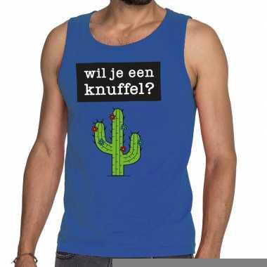 Wil je een knuffel fun tanktop / mouwloos shirt blauw voor heren
