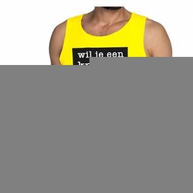 Wil je een knuffel fun tanktop / mouwloos shirt geel voor heren