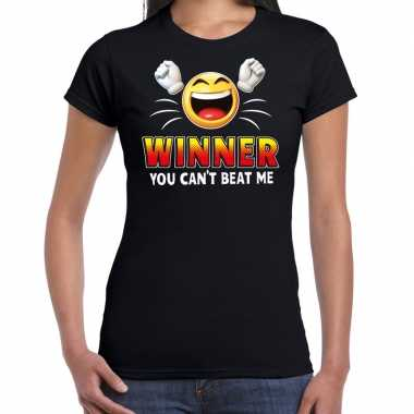 Winner you cant beat me fun shirt dames zwart