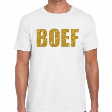 Wit boef glitter goud fun t-shirt voor heren