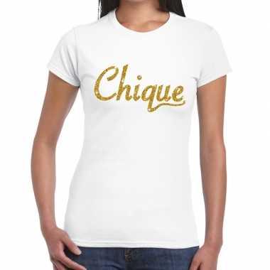 Wit chique goud fun t-shirt voor dames