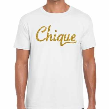 Wit chique goud fun t-shirt voor heren