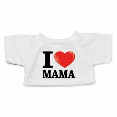 Wit knuffel shirt i love mama maat xl voor clothies knuffel 13 x 9 cm