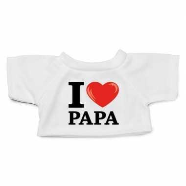 Wit knuffel shirt i love papa maat m voor clothies knuffel 13 x 9 cm